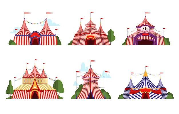 サーカステント。カーニバルサーカスキャノピーストライプテントさまざまなスタイルハッピーパーティーシンボルベクトル漫画コレクション。イラストサーカスカーニバルテント旗、パフォーマンスサーカス