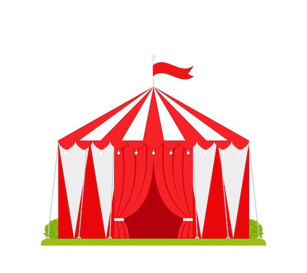 서커스 텐트. 카니발 천막. 열린 입구와 깃발이있는 축제 빨강 흰색 서커스