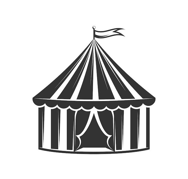 白い背景で隔離されたサーカステント