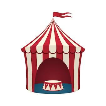 白い背景の上のサーカスのテント。図。