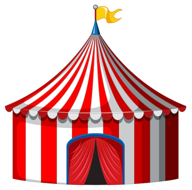 Circus tent in red and white color