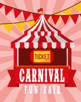 Circus tent ticket pennant retro carnival fun fair