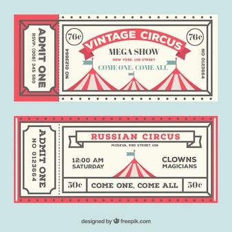 빈티지 스타일의 서커스 텐트 티켓