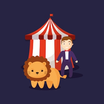 Circus tent with cute lion