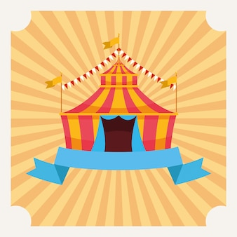 Circus tent with flags cartoon