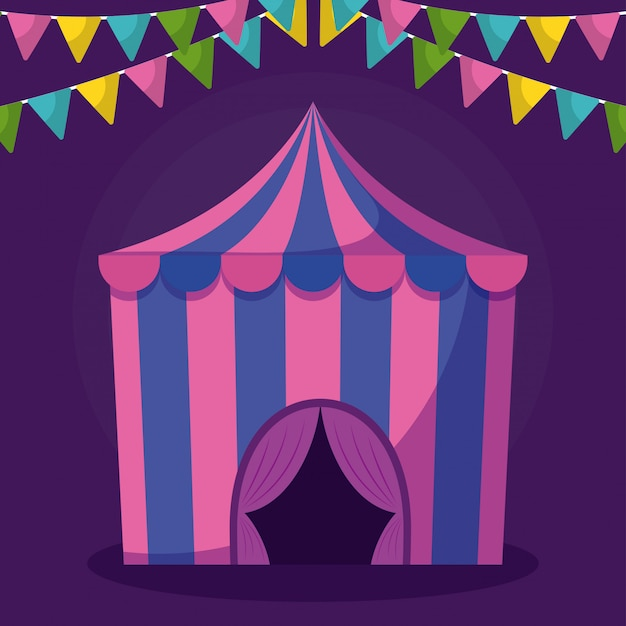 Circus tent with garlands isolated icon
