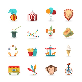 Circus tent with monkey and lion and clown magical wand triks icons set flat isolated