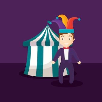 Circus tent with ringmaster man