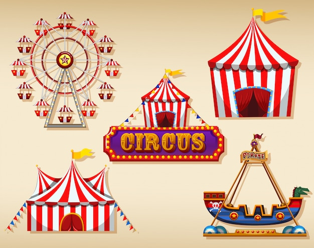 Circus tents and sign