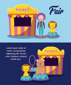 Circus tents ticket sale with clown and cute animals