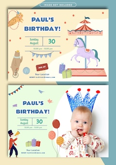 Circus theme birthday invitation card template