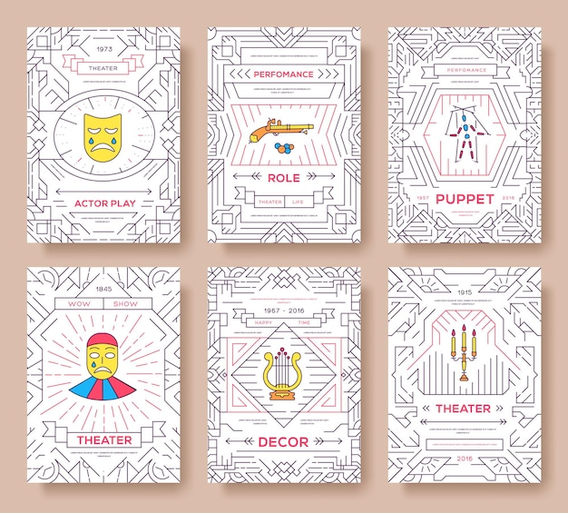 Набор карт брошюры цирка тонкая линия