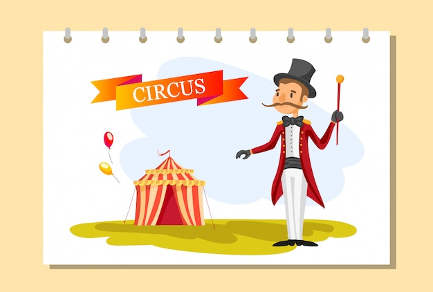 Circus ticket. carnival poster.circus show. different circus artists.
