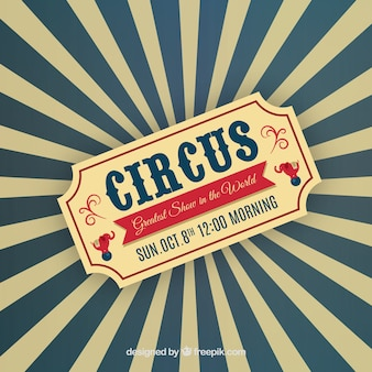 Circus ticket on sunburst background