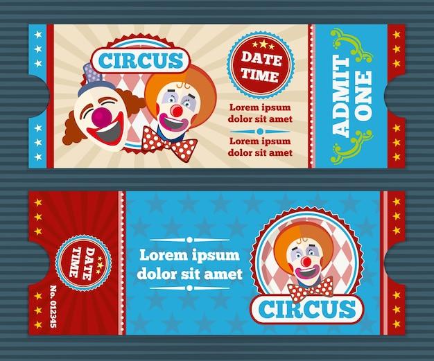 Modello di vettore del biglietto del circo. buono dell'invito del circo, circo del pagliaccio, pass della carta all'illustrazione del circo