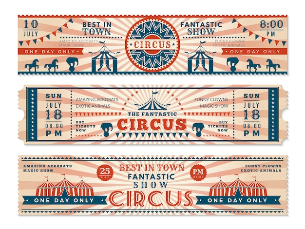 サーカスのチケット。サーカスショーカーニバルレトロなwebバナーの水平方向のバナーの招待状