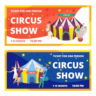 Circus tickets set of carnival entertainment horizontal banners with animals show and performance with acrobats and magician  illustration. circus tickets festival magic event template.