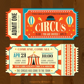 Circus tickets in vintage style