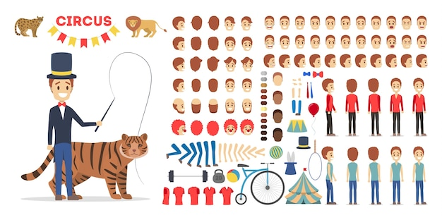 Набор символов циркового дрессировщика для анимации с различными видами