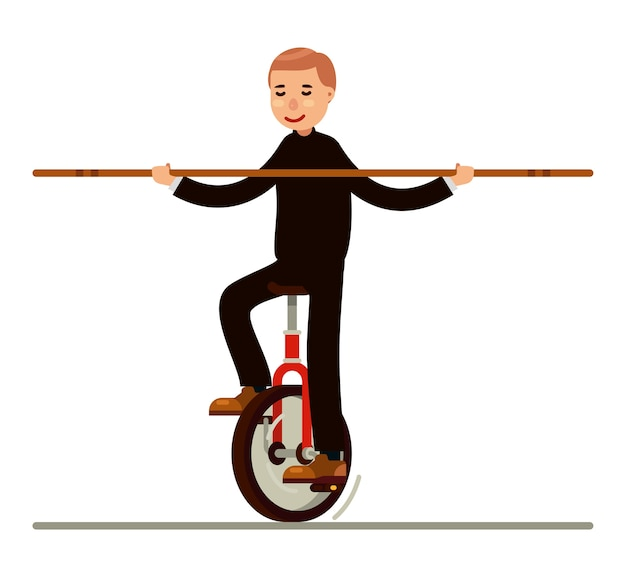 Circus unicycle bike on the rope with balancing pole