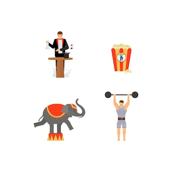Circus vector flat colored icons set