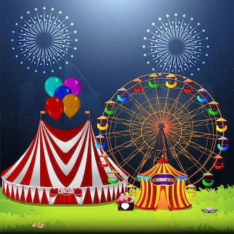 Circus vintage carnival with ferris wheel and circus tent