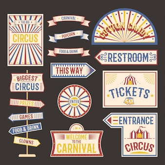 Circus vintage signboards set