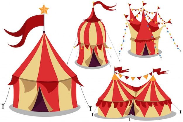 Circus vintage tent cartoon set isolated white