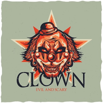 Circus with illustration of angry clown