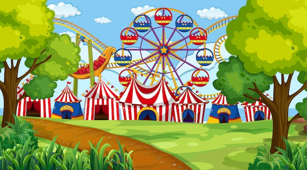 Circus with rides park scene