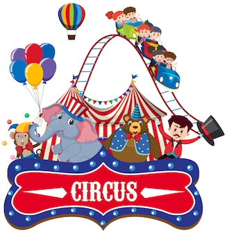 Circus with ring master and animals