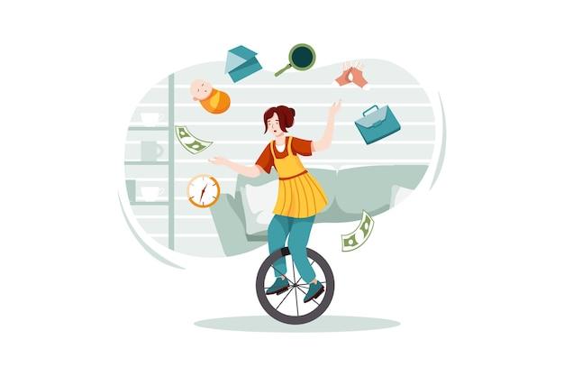 数十の仕事を持つ一輪のサーカスの女性