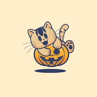 Cite cat hug a scary pumpkin halloween