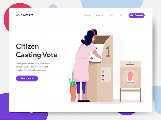 Citizen choosing candidate or vote