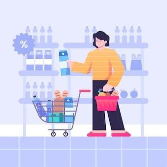 Иллюстрация покупок продуктов гражданина
