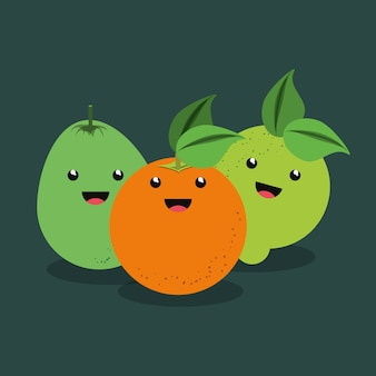 Citric fruits design with kawaii fruits icon