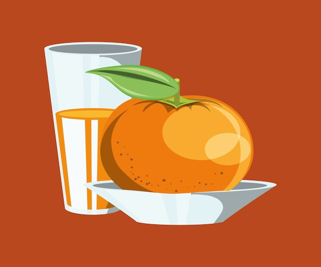 Citric fruits design with tangerine and glass