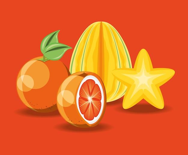 Citric fruits over orange background