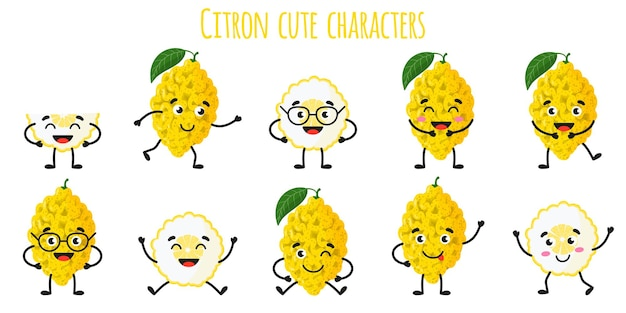Citron citrus fruit cute funny cheerful characters with different poses and emotions. natural vitamin antioxidant detox food collection.   cartoon isolated illustration.