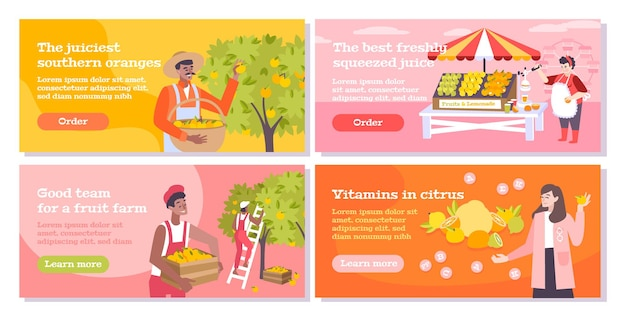 Citrus flat banners set with people collecting oranges and farm sellers and buyers of fruits and juice