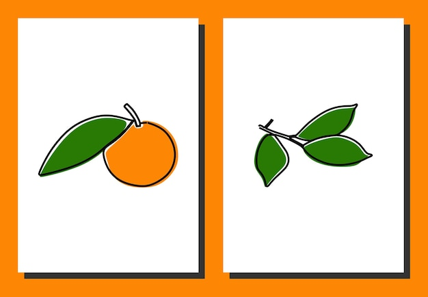 柑橘系の果物ワンライン連続線画プレミアムベクトル