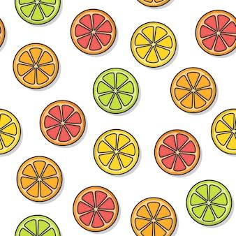 흰색 배경에 감귤 류의 과일 원활한 패턴입니다. 신선한 오렌지, 자몽, 레몬, 라임 아이콘 벡터 일러스트 레이 션