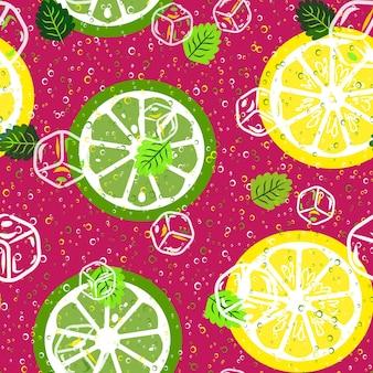 Citrus fruit seamless pattern.