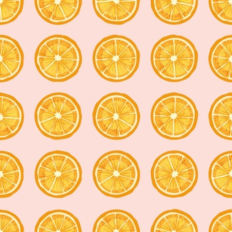 Citrus fruit slices hand drawn seamless pattern.