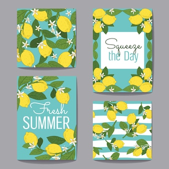 Citrus fruits greeting card set collection