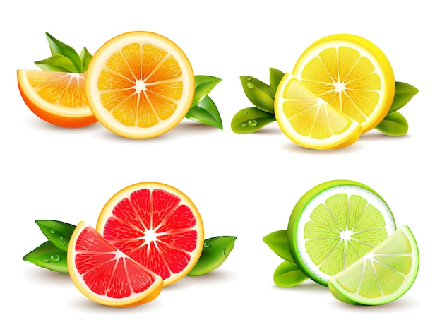 Citrus fruits halves and quarter wedges 4 realistic icons square with orange grapefruit lemon isolat