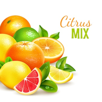 Citrus fruits mix realistic background poster