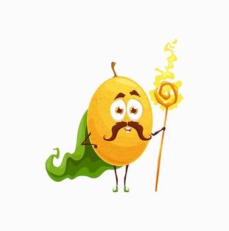 柑橘類のレモンの漫画のキャラクターの魔術師、魔法の杖