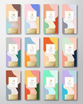 Citrus, nuts and spices chocolate labels set.
