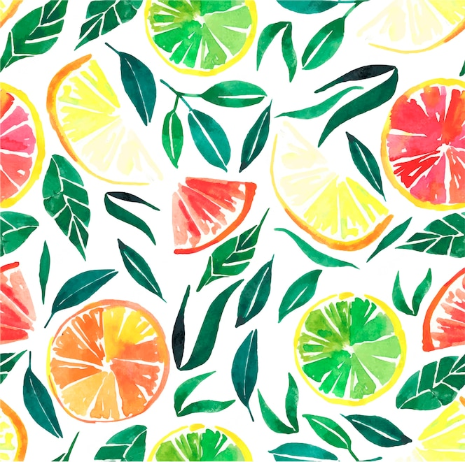 Citrus orange lemon grapefruit with leaves pattern